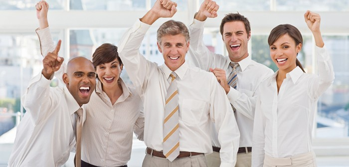 Businesspeople expressing happiness